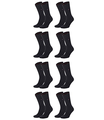 TOMMY HILFIGER Herren Classic Casual Business Socken 8er Pack  ( Black , 43/46 )