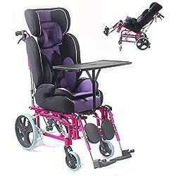 XBCOOK Fauteuil Roulant Pliable, Portable Fauteuil Roulant pour Enfants, pour Enfants conduisant la paralysie cérébrale à Plat entièrement inclinable à Plat de Fauteuil Roulant médical