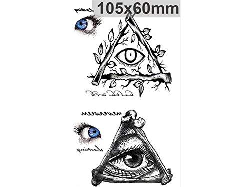 Yyanliii Divertente Impermeabile Dio occhi adesivo tatuaggio corpo adesivo horror per Halloween Party (nero)