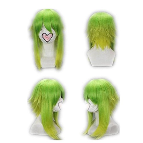 Gumi Cosplay Kostüm - COSPLAZA Cosplay Wig Peruecke Vocaloid Gumi lang Mischfarbe Gruen Peruecke Fasching Karneval Haar