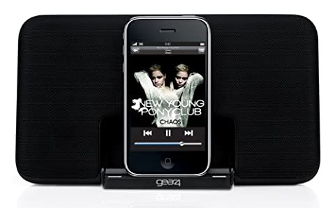 Gear4 StreetParty Size 0 V2 Lautsprecher Dockingstation mit EU/UK Netzstecker Kompatibel mit iPhone 3G/3GS/4/4S, iPad 2/3, iPod Nano 5th Generation und iPod Touch 4th Generation - Schwarz