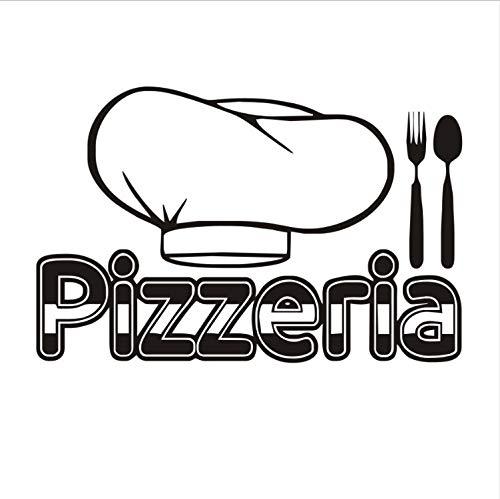 xmydeshoop Pizzeria Besteck Chef Hut Wandtattoos Vinyl Kunst Wandaufkleber Küche Wohnkultur Pizza Restaurant Dekoration Wasserdicht 58X89 cm