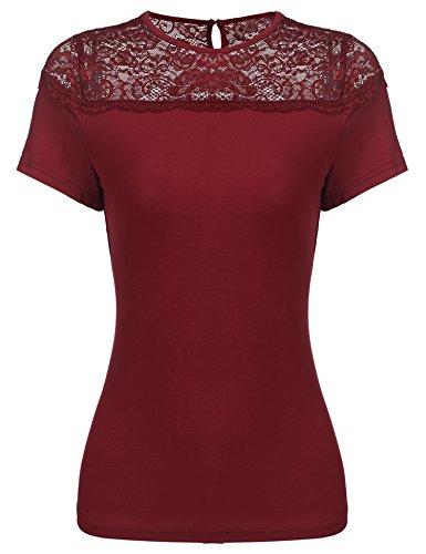 Parabler Damen T-Shirt mit Spitze Kurzarmshirt Spitzenshirt Top Bluse Shirt Tunika Hemd (Weinrot, EU 38 (Herstellgröße: M))