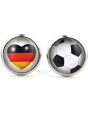 Fußball - Fan Ohrstecker mit Deutschland - Flagge - Herz und Fußball von SCHMUCKZUCKER für alle Fußball Fans 14mm