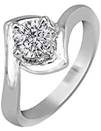 Twishas New Solitaire Cz American Diamond Ring For Girls And Womens