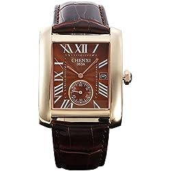 fq-243braun Face PU Lederband Classic Design Qualität Mann männlich Quarz Handgelenk Uhren