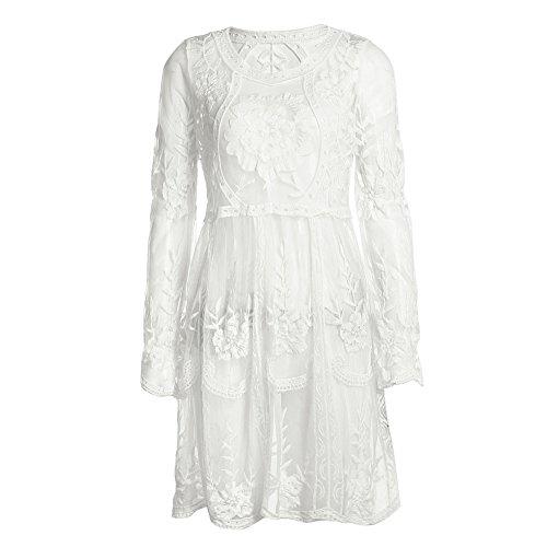 La Cabina Femme Sexy Mini Robe Claire -Voie + Dentelle Bustier Suspendue pour Soirée Cérémonie Mariage et Soirée Cocktail Quotidien … Blanc
