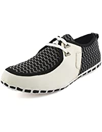 Albertiano Men Casual Shoe Faux Leather (white And Black Color)