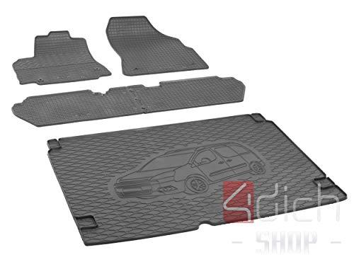 Passgenaue Kofferraumwanne und Gummifußmatten geeignet für Citroen Berlingo 5-Sitzer ab 2008 - EIN Satz