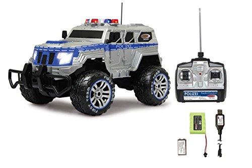 ferngesteuerte polizeiautos Jamara 410032 - Polizei Panzerwagen Monstertruck 1:12 LED 27MHz - 11 LED Signallichter ausschaltbar, 2 große Frontscheinwerfer, grobe Reifen,gesperrte Hinterachse für hohe Traktion, stabile Karosserie