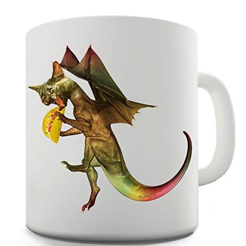 Twisted Envy Katze Dragon Taco Print Keramik Tee Tasse, keramik, weiß, 15 OZ