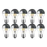 10 x LED Filament Kopfspiegel Silber Birnenform 4W = 40W E27 AGL Glühlampe Glühbirne Glühfaden warmweiß A+ Retro Nostalgie