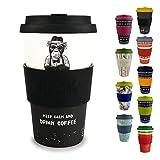 Morgenheld ☀ Dein trendiger Bambusbecher | umweltfreundlicher Coffee-to-Go-Becher | nachhaltiger Kaffeebecher mit Silikondeckel und Banderole in coolem Design 400 ml Füllmenge (Monkey)