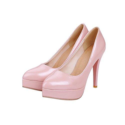 AllhqFashion Damen Hoher Absatz Rein Ziehen Auf Lackleder Spitz Zehe Pumps Schuhe Pink