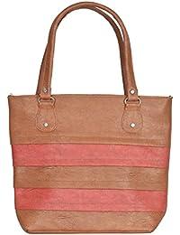 Lyonic Casual Shoulder Bag ( 29 Cm X 10 Cm X 32 Cm, Color-Peach & Brown)