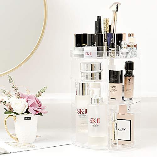 Cosmetic Makeup Organizer Adjustable 360° Acrylic Kosmetik Aufbewahrung Box Clear
