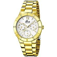 Lotus  0 - Reloj de cuarzo para mujer, con correa de acero inoxidable chapado, color dorado