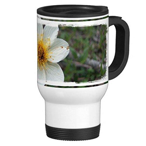 hiekon Little Fleur Blanc sans texte Tasse de voyage en acier inoxydable, 14-Ounce