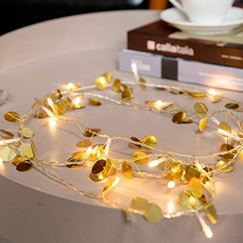 TianranRT Gold Runde Led Batterie Licht Zeichenfolge Partei Dekoration Licht Zeichenfolge -