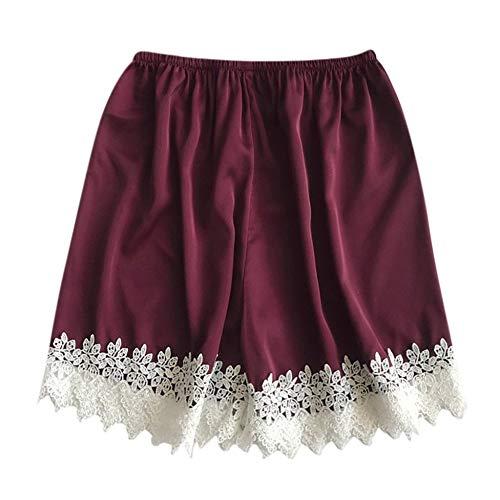 COOOOEENS Pyjamas Wein Farbe Hose Womens Schlaf Bottoms Satin elastische Taille weißer Spitze Shorts Kostüm Seide Sommer Nachtwäsche -