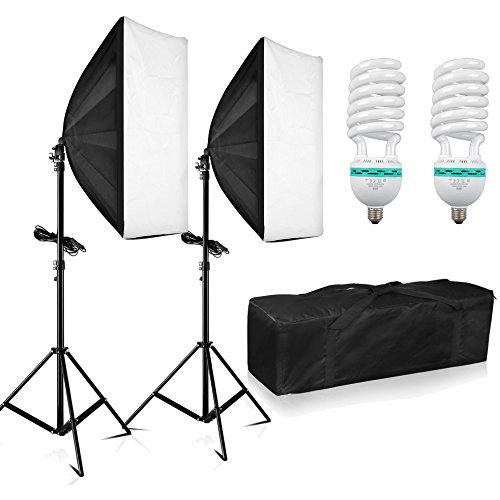 BPS 1250W Professionale Softbox Illuminazione Continuo kit con 2X Softbox 50 x 70 cm /2xLuce Supporto /2xLampadina-5500K/1x borsa per il trasporto per Studio Fotografico