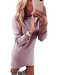 Strickkleid Langarm Rovinci Damen O-Ausschnitt Einfarbig Strickpullover Kleider  Herbst Lose T-Shirt Kleid 4ea25662b7