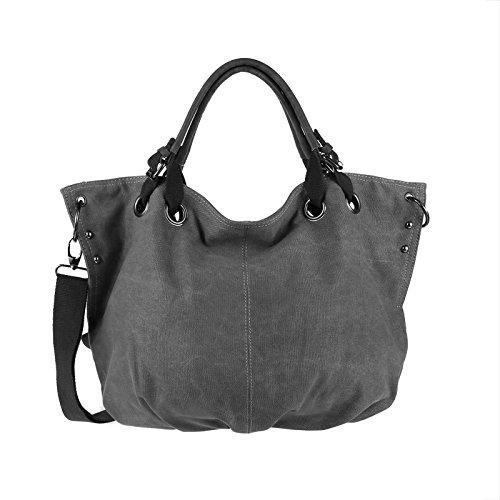 OBC Moderne Damen Tasche Canvas XXL Shopper Stofftasche Schultertasche Umhängetasche Baumwolle Beuteltasche Strandtasche Bag Street Grau