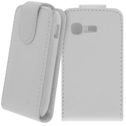 Slim Flipcase für Samsung Galaxy Pocket GT-S5300 5300 Handytasche Case Hülle Etui Cover Displayschutz Secure / SchutzHülle /: Farbe: Weiß
