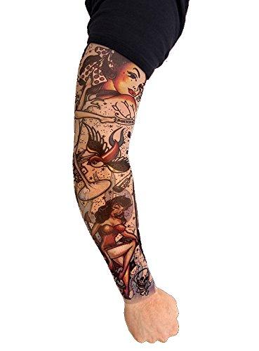 Tattoo Ärmel Rockabilly zum Kostüm Karneval Fasching Halloween (Halloween Ärmel Tattoo)