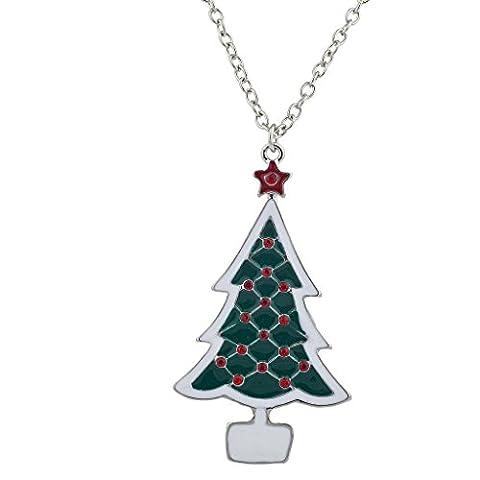 LUX Zubehör Urlaub Weihnachten Xmas Tree Rot Weiß Grün Anhänger Halskette