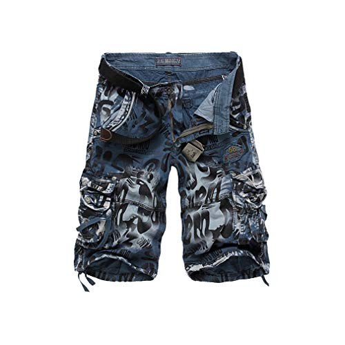 Men's Camouflage Summer Army Cargo Workout Shorts Loose Casual Trousers Plus Size No Belt -
