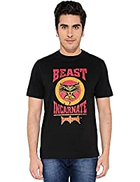 "The Souled Store Brock Lesnar ""Beast Incarnate"" Sports Printed Premium BLACK Cotton T-shirt for Men Women and Girls"