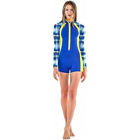 Glidesoul da donna Zip Frontale Tie Dye Primavera tuta con pantaloncini, donna, Front Zip Tie Dye, Blue Print/blue Gs/lemon, X-Small/2 mm
