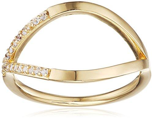 caï Damen-Ring 925 Silber gelb vergoldet Topas weiß Gr. 56 (17.8)