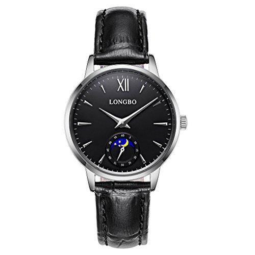 Longbo Casual Damen-Armbanduhr Sonne Mond Phase versilbert Römische Zahl Business schwarz Leder Band Kleid Armbanduhr Wasserdicht Datum Paar Uhren