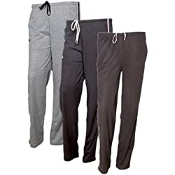 Indistar Women's Premium Cotton Lower with 1 Zipper Pocket and 1 Open Pocket(Pack of 3)_Blue::Blue::Brown-38