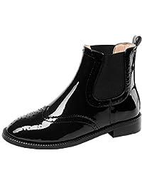 Y2Y Studio Femmes Bottes de Pluie Bottes Chelsea Talons Plates 3cm Noires  Vernies Retro avec Dentelle Bout Rond Confortables Chaussures… 6ab17d919c86