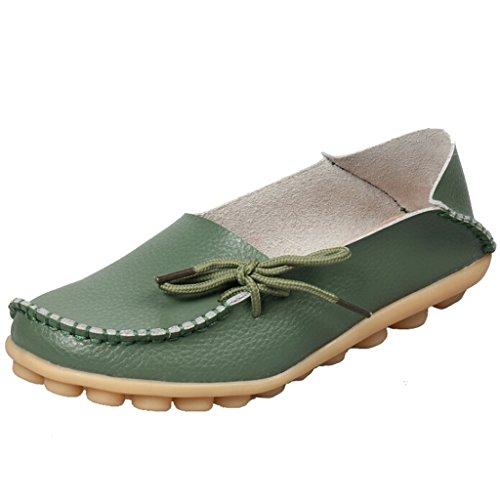 SIMPVALE Damen Mokassin Leder Loafers Fahren Schuhe Comfort Freizeit Flache Schuhe Armee-Grun