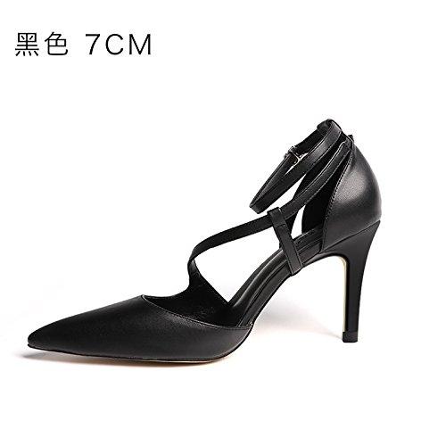 FLYRCX Autunno e Inverno nero argento ha sottolineato signore sexy tacchi alti scarpe. D