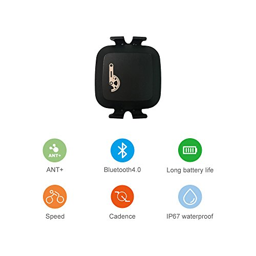 CooSpo Sensor de Velocidad de Bicicleta o Sensor de Cadencia con Doble Módulo Bluetooth 4.0 Ant + Impermeable IP67 Compatible con Strava Wahoo Ciclo Computadores y Otros
