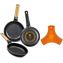 BRA Efficient Orange - Set de 3 sartenes, 20-24-28 cm,