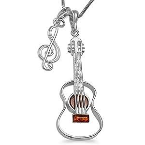 -Schmuckset-Handgefertigt XL Musiker-Schmuck Set Gitarre Bernstein Anhänger mit Notenschlüssel Kettenanhänger inkl. 1,4mm Schlangenkette 40 45 50 55cm 925 Sterlingsilber,gratis Geschenkbox #1681