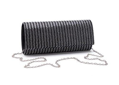 Damen Abendtasche Kristalldiamanten Diamant Wallet Glänzende Handtasche Bankett Black