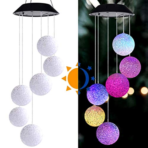 omufipw wasserdichte solarbetriebene Bunte Lichter Windspiel Shell Ball für Outdoor-Garten Fenster Dekor