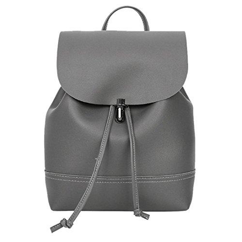 DOGZI Handtasche Damen, Klein Transparente Tasche Rucksack Damen Ledertasche Kleine Vintage Reine Farbe Leder Schultasche Rucksack Satchel Frauen Trave Schultertasche (Dunkelgrau) -