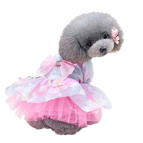 MMOOVV 1 PCS Hund Elegantes Kleid Bogen kostüm Hund Katze niedlichen Sommerkleid (Rosa XS)