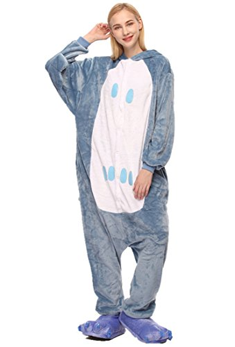 (URVIP Unisex Festliche Anzug Flanell Pyjamas Trickfilm Jumpsuit Tier Cartoon Fasching Halloween Kostüm Sleepsuit Party Cosplay Pyjama Schlafanzug Eule Medium)