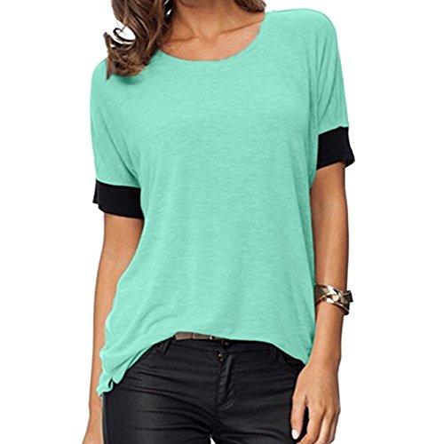 (CAOQAO Damen Sexy Einfarbig Tops Kurzarmshirts Rundhals-BeiläUfige T-Shirts Loose Fit T-Shirt Blusen Top Kurzarm(XL,Hellblau))