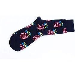 Huyizhi Calcetines Deportivos para Hombres Calcetines de Fruta de Dibujos Animados de los Hombres Patrón de piña Medias elásticas Transpirables (Color : Black, tamaño : 39-44yards)