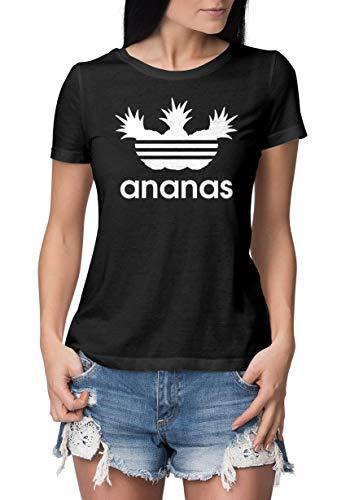T-Shirt Damen Aufdruck Ananas lustiges T Shirt Bedruckt Logo Parodie Slim Fit Schwarz-Weiß M - Lustig Bedruckte T-shirts